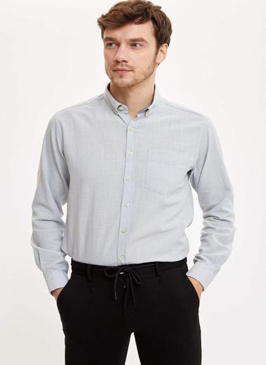 DeFacto Tek Cepli Slim Fit Gömlek Gri
